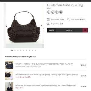 Lululemon Arabesque gym bag tote purse EUC Black